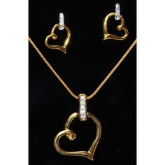 CZ studded gold plated heart shaped pendent set  - Online Shopping for Pendants by Ami Designs