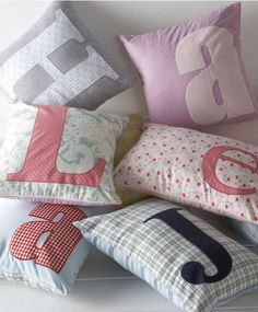 cute pillows for kids room Cute Pillows, Diy Pillows, Decorative Pillows, Throw Pillows, Pillows For Kids, Letter Cushion, Initial Cushions, Letter Pillow, Baby Sewing
