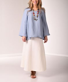 Another great find on #zulily! Lbisse Soft Blue Bell-Sleeve Linen-Blend Scoop Neck Top by Lbisse #zulilyfinds