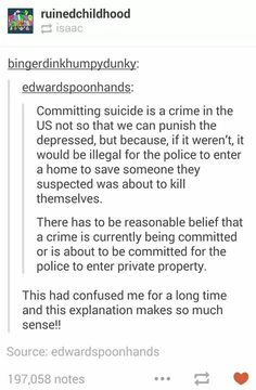 K but why can't it be so that if there's reasonable belief that someone is in danger you can enter their property to y'know help save their life