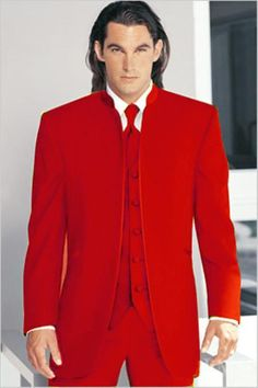 Mirage Tuxedo Mandarin Collar Red Vested 3PC No Buttons Pre Order Collection | MensITALY  Price: US $795