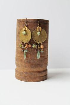 Turquoise Brass Earrings  Earth Tones Fall by jenniflairjewelry, $28.00