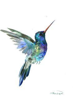 Hummingbird painting 14 x 11inbright color flowers by ORIGINALONLY