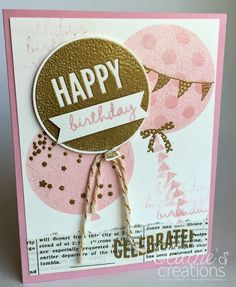 Embossing fun with the Celebrate Today stamp set! Get 15% off when you order the bundle! Stampin' Up! Balloon Birthday Card Elaine's Creations