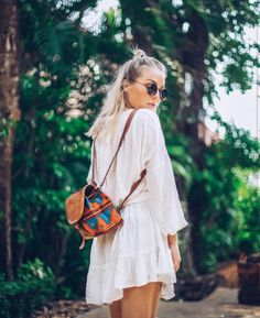 Flowy white / mini backpack / boho vibes bohemian