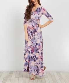 Another great find on #zulily! Light Pink Daisy Wrap Maxi Dress #zulilyfinds