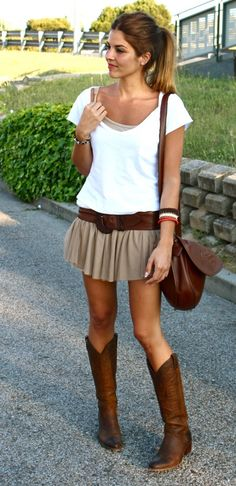 How to wear cowboy boots with dress, or should i say skirt?, and  look fab!