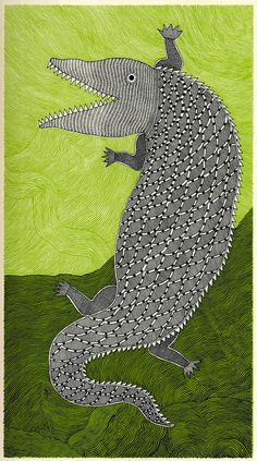 """""""Crocodile Smile"""" from the children's book Waterlife by artist Rambharos Jha, """"who explores the marine wonderland through vibrant Mithila art, a form of folk painting from Bihar in eastern India."""""""