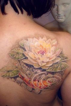 Water lily and Koi tattoo.
