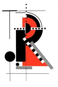 "blushingcheekymonkey: "" rosmarie tissi - the letter r "" Bauhaus Art, Bauhaus Design, Typography Inspiration, Graphic Design Inspiration, Graphic Design Illustration, Graphic Art, Typography Letters, Lettering, Alphabet Letters"