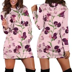 Peony Pattern Woman Hoodie Dress Hoodie Dress, Peonies, Custom Made, Print Design, Print Patterns, Rectangle Area, Rompers, High Definition, Unique