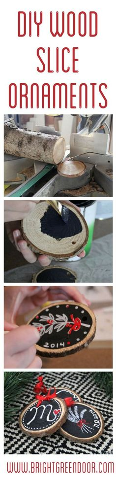 DIY Wood Slice Chalkboard Ornaments #gifts #christmastime