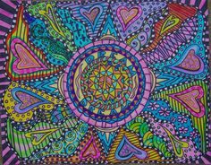 Psychedelic Hippie Art Dream of Love Mandala by DawnCollinsArt, $40.00
