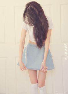 Denim look skater skirt and knee high socks outfit