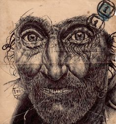 Artist - Mark Powell The artists particularity is to draw portraits of the elderly on the back of old envelopes. All of his marvellously detailed portraits are drawn with a Bic Biro pen. Biro Drawing, Drawing Sketches, Painting & Drawing, Art Drawings, Biro Art, Drawing Faces, Amazing Drawings, Amazing Art, Awesome