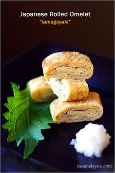 Japanese Rolled Omelet (Tamagoyaki) recipe - I am a big fan of Japanese rolled omelet or tamagoyaki–the slightly sweet but delicate omelet that is often packed into Japanese bento boxes and also served at sushi bars as tamago nigiri. I love its aesthetic: yellow and all rolled up in a small package that is easily picked up with a pair of chopsticks. Plus, the taste is utterly delicious and unlike any omelets I have ever tasted! #30-minutemeals #egg