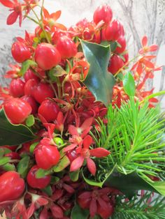 Christmas is red berries, festival bush, holly and spruce.