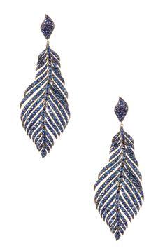 Sapphire Leaf Dangle Earrings//