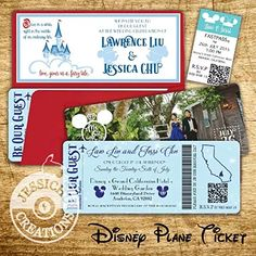Disney Plane Ticket & FastPass Wedding Invitation, Programs, Save the Date, Disneyland, Mickey, Disney World