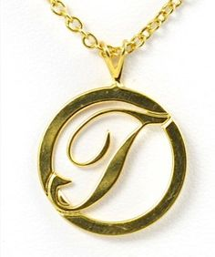 Small Gold Round Initial T Necklace by TashaHussey on Etsy, $38.00
