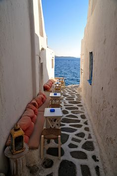 Seaside Cafe, Mykonos, Greece This is exactly why Greece is the first destination on my travel list! Albania, Dream Vacations, Vacation Spots, Wonderful Places, Beautiful Places, Places To Travel, Places To Visit, Seaside Cafe, Mykonos Greece
