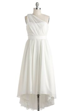 Simple High-low One Shoulder Chiffon bridesmaid Dress BD0042 COMES IN GREEN