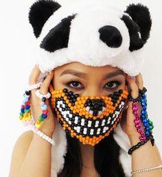 Orange Tiger Kandi Mask
