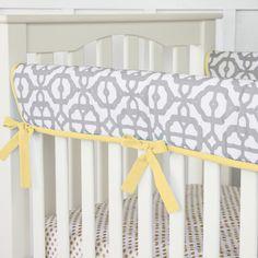 Gray and Yellow Mod Crib Rail Cover
