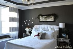 White and dark grey bedroom....will go perfect with our black and white nature pics