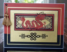 handmade card with 'Dragon' and 'Screen' - Oriental Dies from tatteredlace.co.uk ... Chinese dragon in red ... luv all of the texture ...