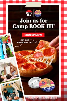 A great summer MUST include pizza! And at Camp BOOK IT!, we've got that covered. Enroll your Pre-K through 6th graders, track their reading progress daily, and reward them with a free Personal Pan Pizza® for reaching their goals. Camping Books, Smart Snacks, Roblox Gifts, Pizza Hut, Free Personals, Kfc, Mark Hamill, Gift Cards, Cartoon Characters