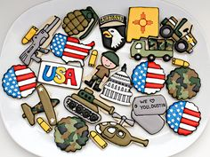 Patriotic and camouflage print cookies. Here is a step-by-step guide on how to create these gorgeous goodies. The Sweet Adventures of Sugarbelle has great tutorials on all sorts of great cookie designs -- check her out! Camo Cookies, Fancy Cookies, Cut Out Cookies, Iced Cookies, Royal Icing Cookies, Cupcake Cookies, Sugar Cookies, Baseball Cookies, Cookie Icing