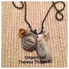 Origami Owl tagged collection- From the tagged collection $50 30 in. black ball chain, family tag, mom accent tag, and two crystal elements