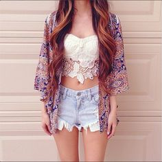 Crochet top. Summer outfit. Jean shorts.