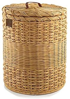 The Basket Lady Round Wicker Laundry Hamper, Extra-Jumbo, 23 in Dia x 28 in H, Toasted Oat Wicker Hamper Basket, Wicker Baskets With Handles, Large Baskets, Large Laundry Hamper, Laundry Basket, Laundry Room, Recycled Paper Crafts, Round Basket, Small Blankets