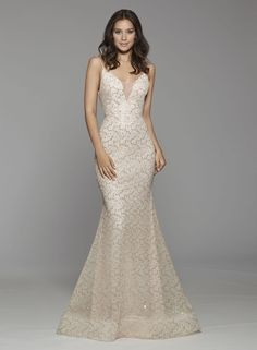 Modern Fit And Flare Wedding Dress by Tara Keely - Image 1