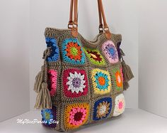 Crochet granny squares handbag with tassels and genuine leather handles /TAUPE/, Crochet Bag, Tote Bag, Gift Idea