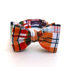 Men's Bow Tie - Madras Plaid - Red Orange Blue Green White Tan. $44.50, via Etsy.
