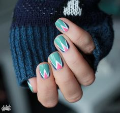 Mint white and pink triangle nails