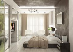Bedroom. Elegant Luxury Apartment Bedroom Ideas. Elegant Apartment Bedroom Idea with Wall Mounted Square Wooden Gray Elegant Low Profile Bed and Wall Mounted Wooden Rectangle Gray White Two Drawers Double Nightstands and also White Rectangle Double Pillows plus Burly Wood Quilt with Freestanding White Chrome Upholstered Double Chairs and freestanding Center Chrome Glass Round Table and also Wall Mounted Rectangle LED TV