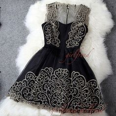 Black hollow out sleeveless embroidery party dress door GirlsProms, $128.90
