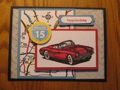 stampin up classic convertible | ... Red Masculine Handmade card Classic Convertibles Birthday Stampin Up