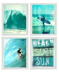 Surf Art Print Set - SALE 25% OFF - Aqua Surfer Beach Sign Beach House Wall Art Home Decor Waves Surfing Coastal Photographs