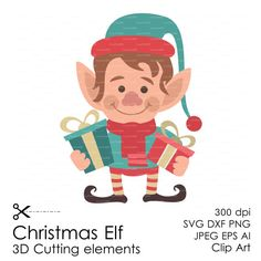Christmas Elf 300 dpi (svg, dxf, ai, eps, png) Clip Art 3D Cutting elements Xmas Noel Die Cut file for Silhouette Cameo EasyCutPrintPD