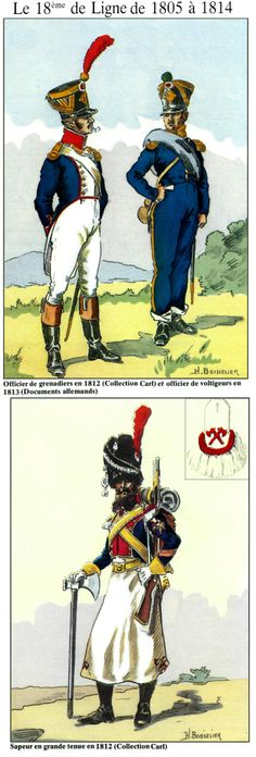 Le 18e de ligne de 1805 à 1814 Officier de grenadiers 1812 et officier voltigeur 1813 Sapeur en grande tenue 1812