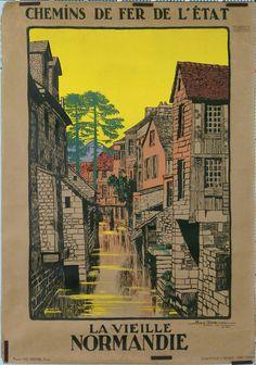 Vintage Railway Poster - La Veille Normandie .-Affiche 1913
