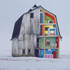 What was left was the foundations of Abandoned Dollhouses, in which a series of diverse yet uniformly derelict buildings and homesteads reveal themselves to contain surprisingly incongruous interiors - a hulking great Jeff Koons sculpture inside a dilapidated wooden mill, for example...