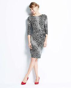 410e5662e8 Dalmatian Print 3 4 Jersey Dress Spring Work Outfits