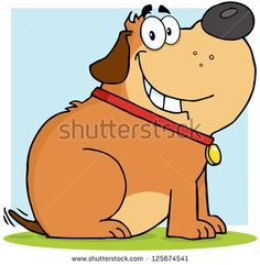 Happy Brown Fat Dog Cartoon Mascot Character. Raster Illustration.Vector version also available in portfolio.
