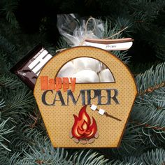 Happy camper S'more Box. Perfect for girl's camp treats or scout camp favors. Cutting files and instructions in the Pazzles Craft Room.